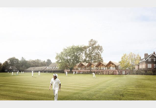 Tate Harmer's new building for Cranleigh Prep School in Surrey - teaching block doubles as a cricket pavilion